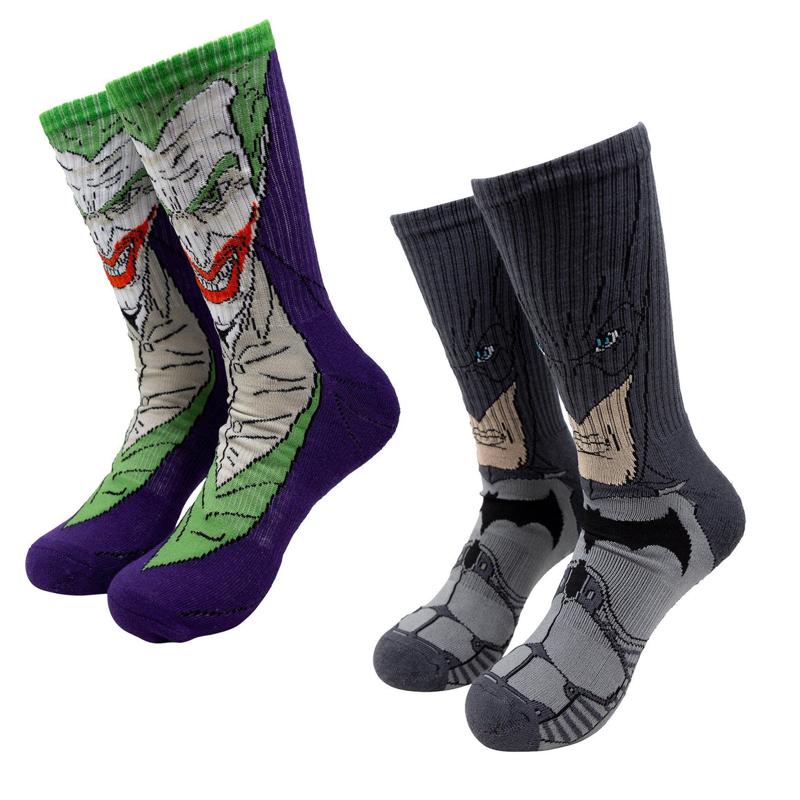2 Pair Pack Batman and Joker Athletic Socks - The Sock Spot