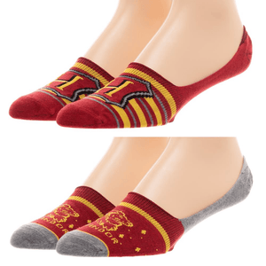 2 Pair Pack Harry Potter Hogwarts and Gryffindor No Show Liner Socks - Large - The Sock Spot