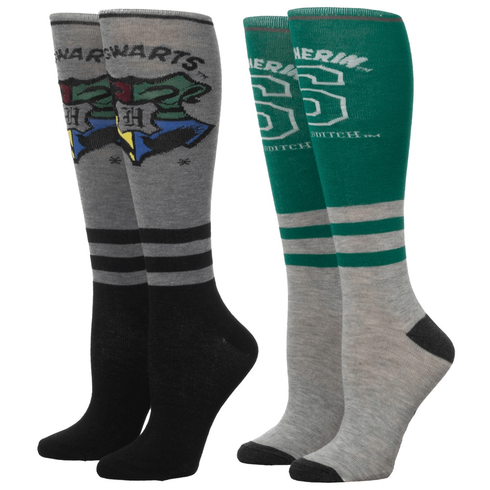 2 Pair Pack Slytherin Knee High Harry Potter Socks - The Sock Spot