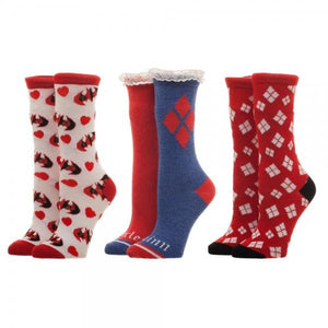 3 Pair Box DC Comics Harley Quinn Socks - The Sock Spot