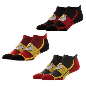 3 Pair Pack DC Comics Flash Athletic Ankle Socks - The Sock Spot