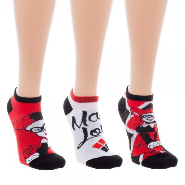 3 Pair Pack DC Comics Harley Quinn Ankle Socks - The Sock Spot