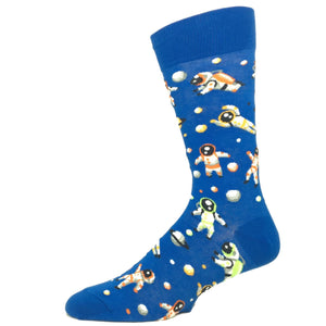 Astronaut Socks in Blue by Hot Sox - The Sock Spot