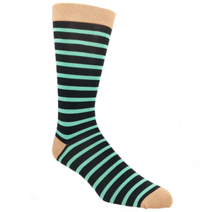 Black and Mint Sailor Striped Bamboo Socks by SockSmith - The Sock Spot