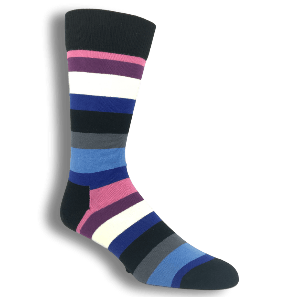 Black, Pink, and Blue Stripe Socks by Happy Socks - The Sock Spot