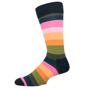 Black, Pink, and Orange Stripe Socks by Happy Socks - The Sock Spot