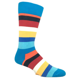 Blue and Orange Stripe Socks by Happy Socks - The Sock Spot
