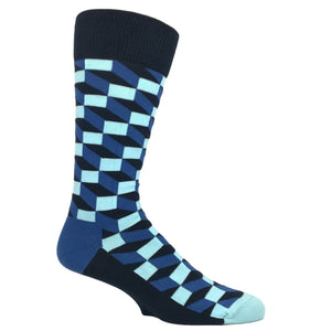 Blue and White Filled Optic Socks by Happy Socks - The Sock Spot