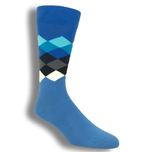 Blue, Black, and White Faded Diamond Socks by Happy Socks - The Sock Spot