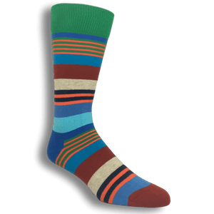 Blue, Green, and Red Multi Stripe Socks by Happy Socks - The Sock Spot