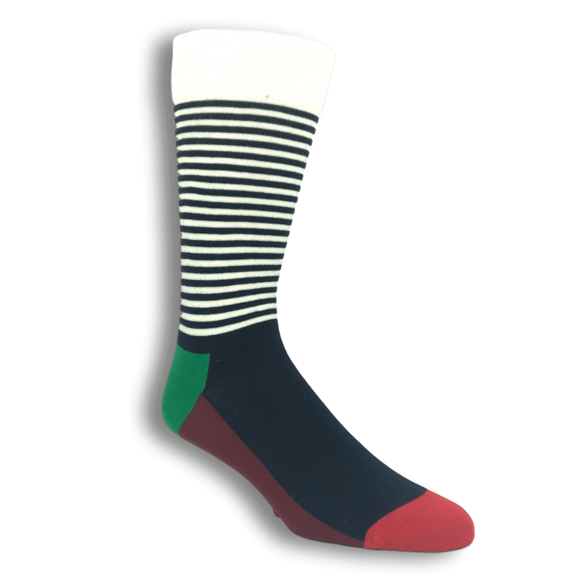 Blue, Green, and White Half Stripe Socks by Happy Socks - The Sock Spot