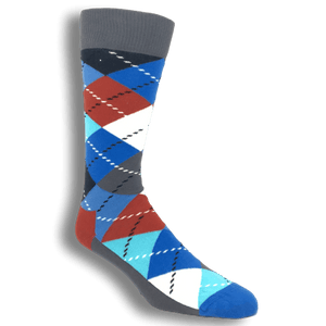 Blue, Red, and Grey Argyle Socks by Happy Socks - The Sock Spot