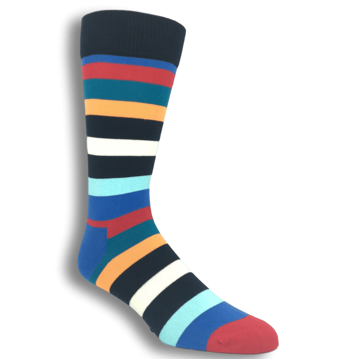 Blue, Red, and Orange Stripe Socks by Happy Socks - The Sock Spot