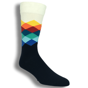 Blue, White, and Orange Faded Diamond Socks by Happy Socks - The Sock Spot