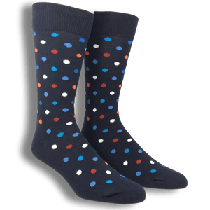 Blue with Red White and Blue Dots Socks by Happy Socks - The Sock Spot