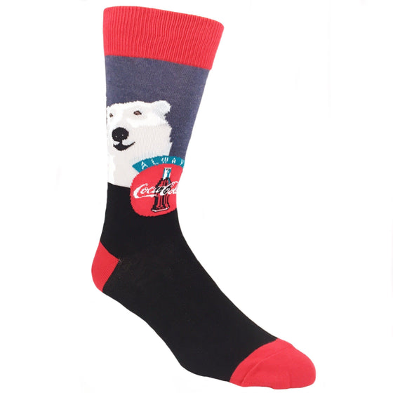 Cheers Coca-Cola Bear Christmas Socks in Blue by SockSmith - The Sock Spot