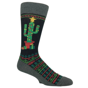 Christmas Cactus Socks in Black by Hot Sox - The Sock Spot