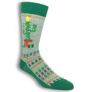 Christmas Cactus Socks in Grey by Hot Sox - The Sock Spot