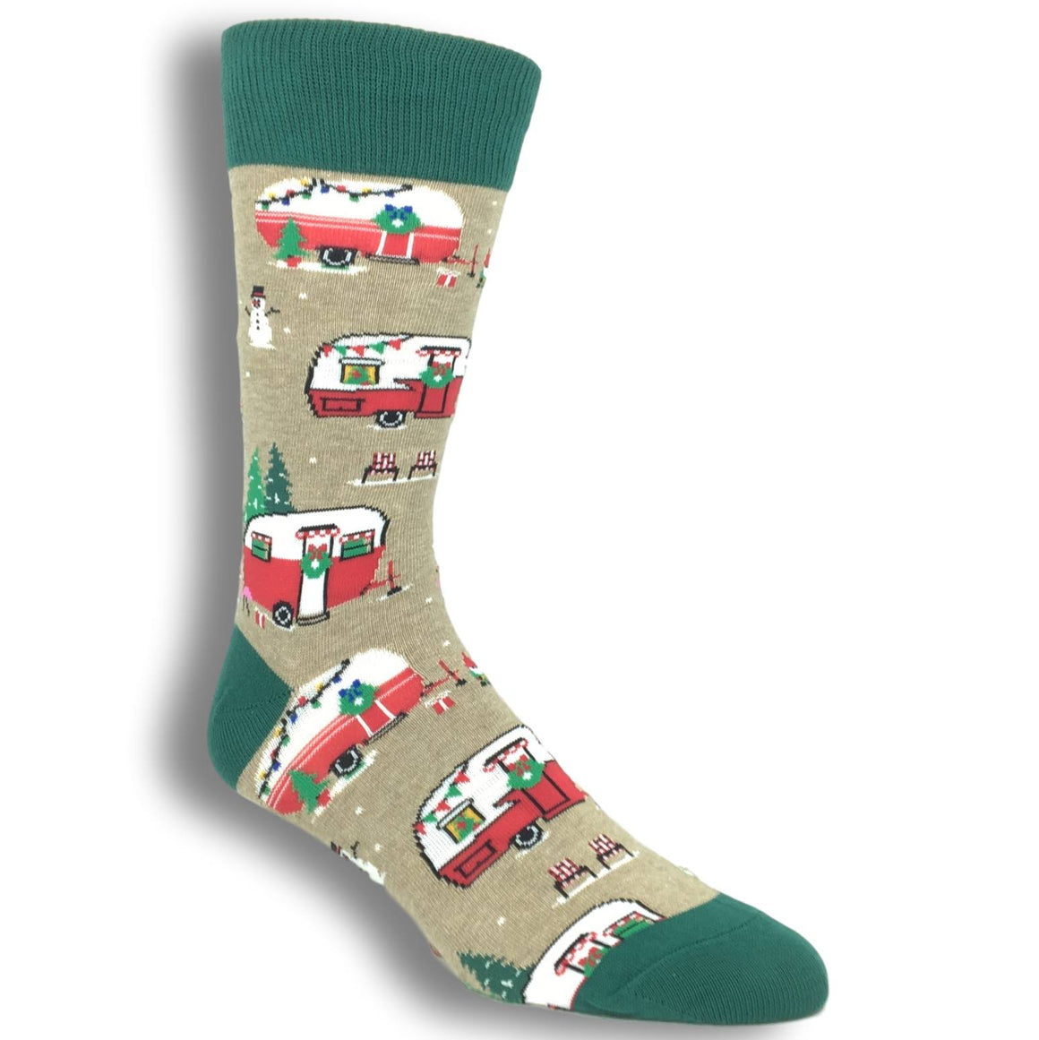 Christmas Campers Socks in Tan by SockSmith - The Sock Spot