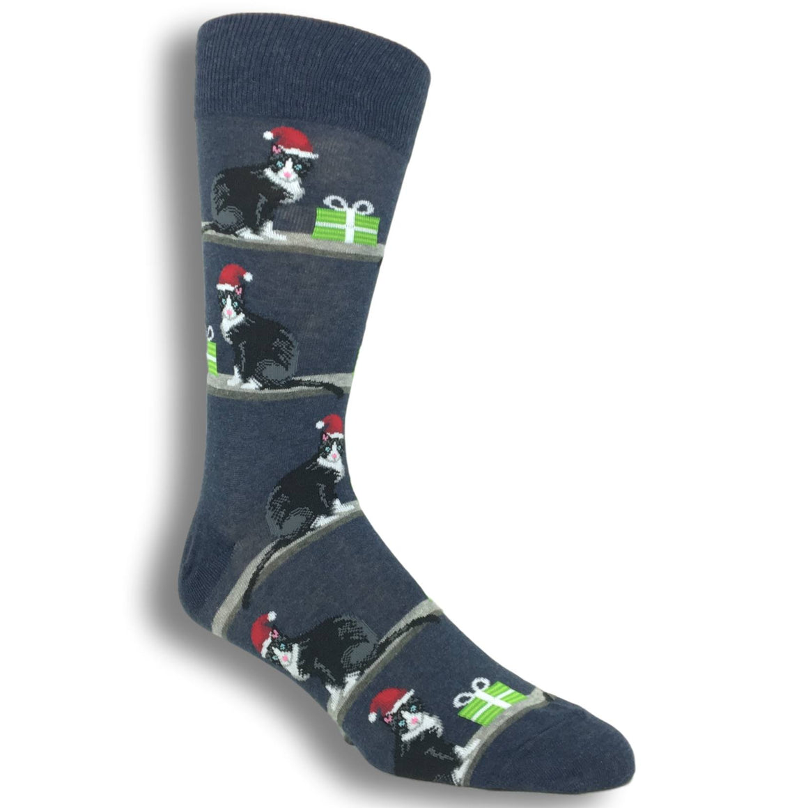 Christmas Cats Socks in Denim by Hot Sox - The Sock Spot