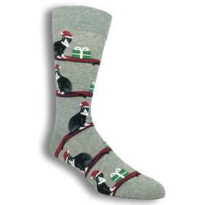 Christmas Cats Socks in Grey by Hot Sox - The Sock Spot