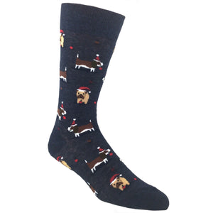 Christmas Doggies Socks in Blue by Hot Sox - The Sock Spot
