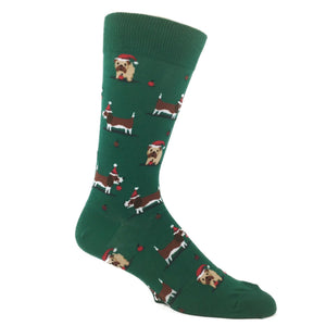 Christmas Doggies Socks In Green by Hot Sox - The Sock Spot