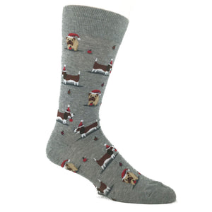 Christmas Doggies Socks in Grey by Hot Sox - The Sock Spot