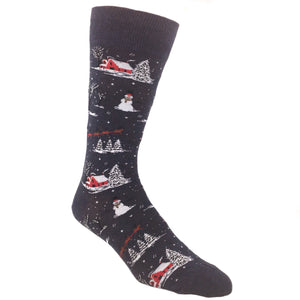 Christmas Scene Socks In Blue by Hot Sox - The Sock Spot