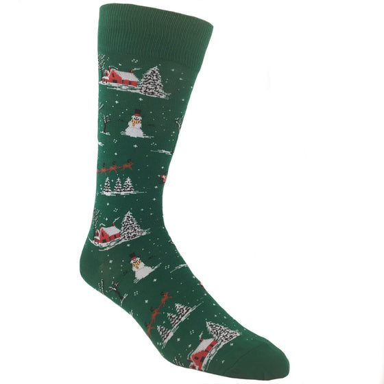 Christmas Scene Socks in Green by Hot Sox - The Sock Spot