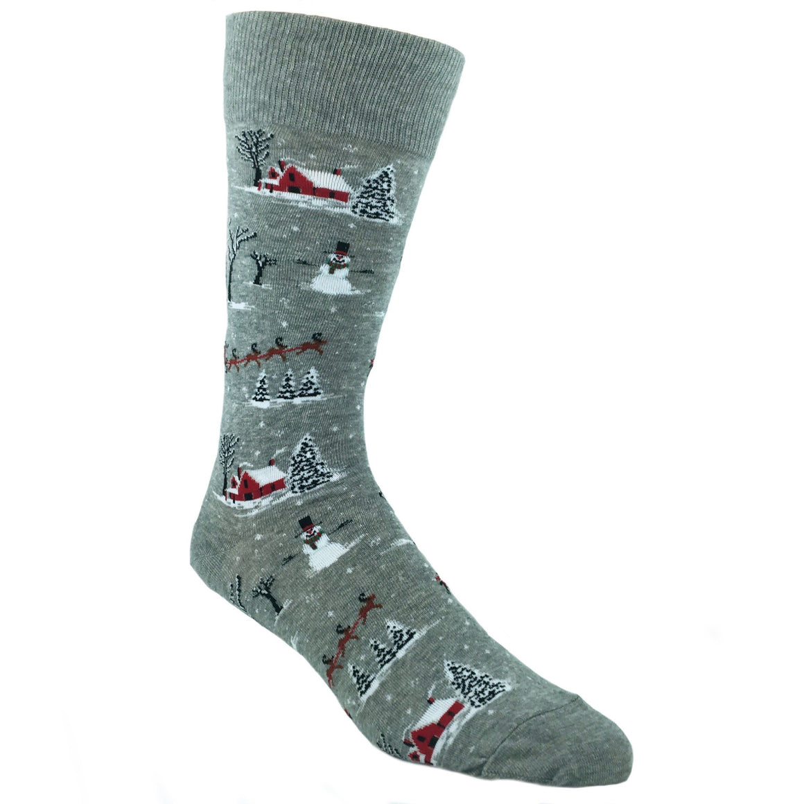 Christmas Scene Socks in Grey by Hot Sox - The Sock Spot