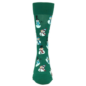 Christmas Snowmen in Green by Hot Sox - The Sock Spot