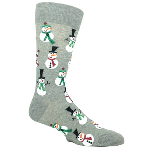 Christmas Snowmen in Grey by Hot Sox - The Sock Spot
