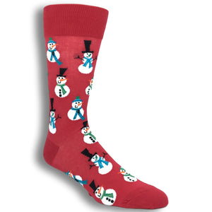Christmas Snowmen in Red by Hot Sox - The Sock Spot