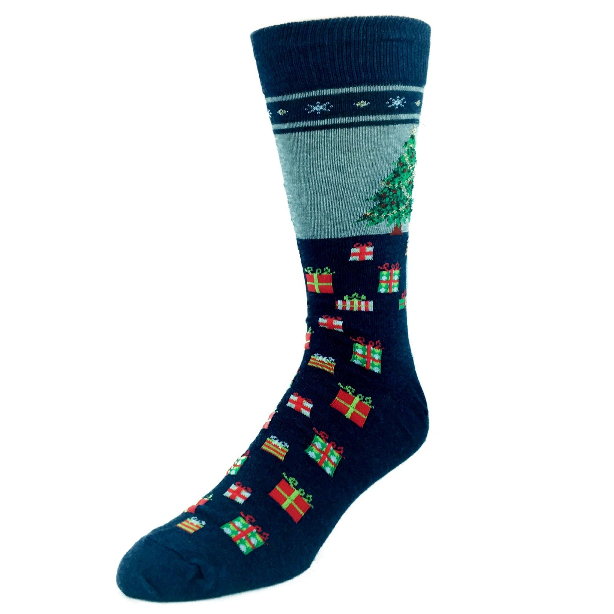 Christmas Tree Non-Skid Socks In Blue by Hot Sox