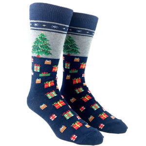 Christmas Tree Non-Skid Socks In Blue by Hot Sox - The Sock Spot