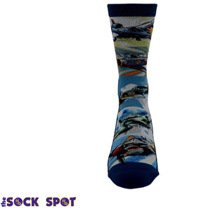 Classic Fighter Jets Printed Men's Socks by Good Luck Sock - The Sock Spot