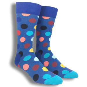 Dark Blue with Multi Colored Big Dots Socks by Happy Socks - The Sock Spot