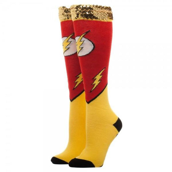 DC Comics Flash Sequin Cuff Knee High Socks - The Sock Spot