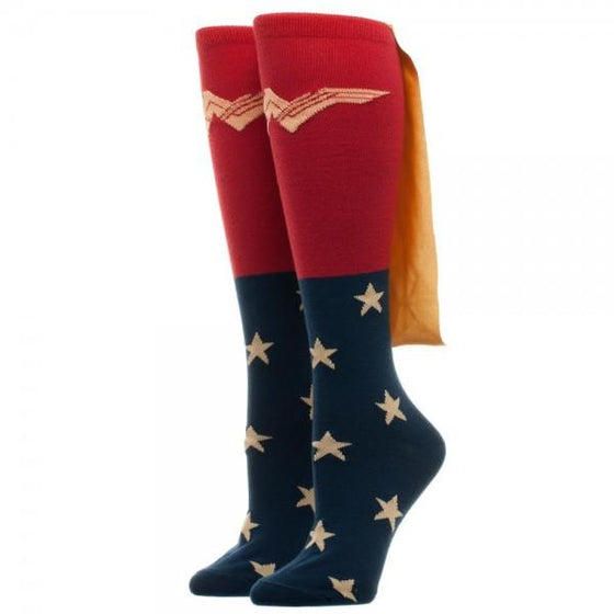 DC Comics Justice League Wonder Woman 3D Knee High Socks with Cape - The Sock Spot