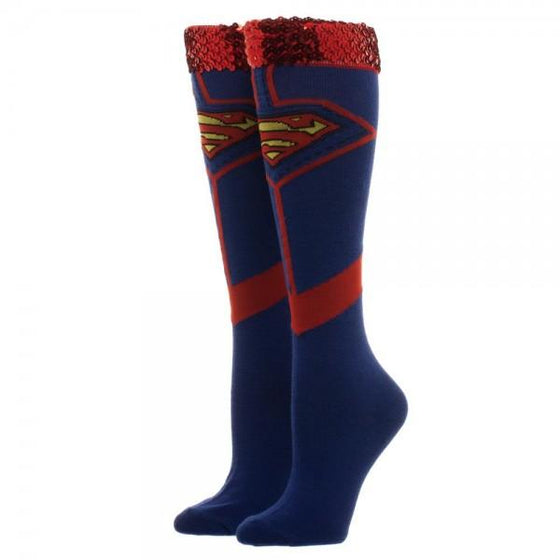 DC Comics Superman Sequin Knee High Socks - The Sock Spot