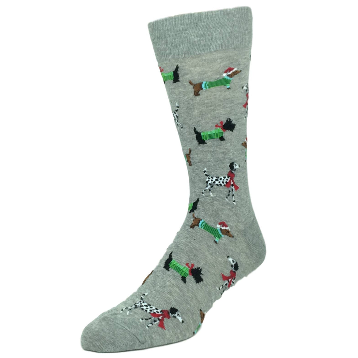 Doggies For Christmas Socks in Grey by Hot Sox - The Sock Spot