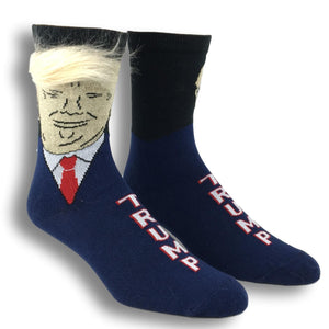 Donald Trump with Hair Socks - Made in the USA by Gumball Poodle - The Sock Spot