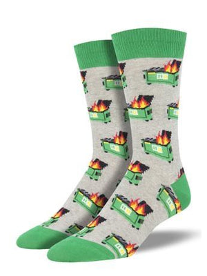 Dumpster Fire in Grey Men's Socks by SockSmith - The Sock Spot