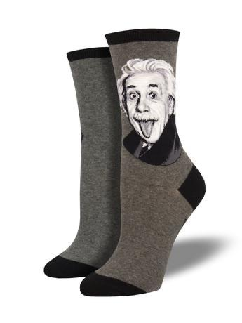 Einstein Portrait in Grey Women's Socks by SockSmith - The Sock Spot