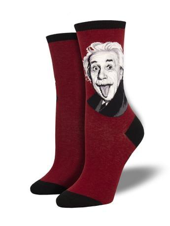 Einstein Portrait in Red Women's Socks by SockSmith - The Sock Spot