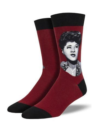 Ella Fitzgerald Portrait Men's Socks in Red by SockSmith - The Sock Spot
