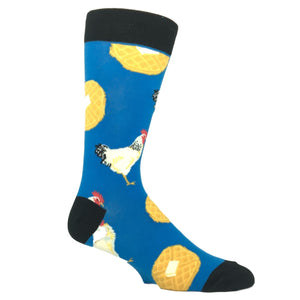 Farm Chicken and Waffles Socks in Blue by SockSmith - The Sock Spot