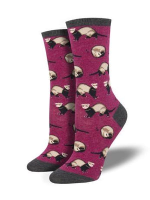 Ferret Frenzy in Berry Women's Socks by SockSmith - The Sock Spot