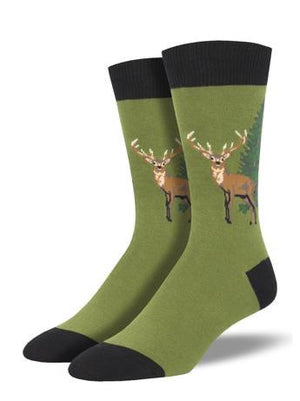 Going Stag in Green Men's Socks by SockSmith - The Sock Spot
